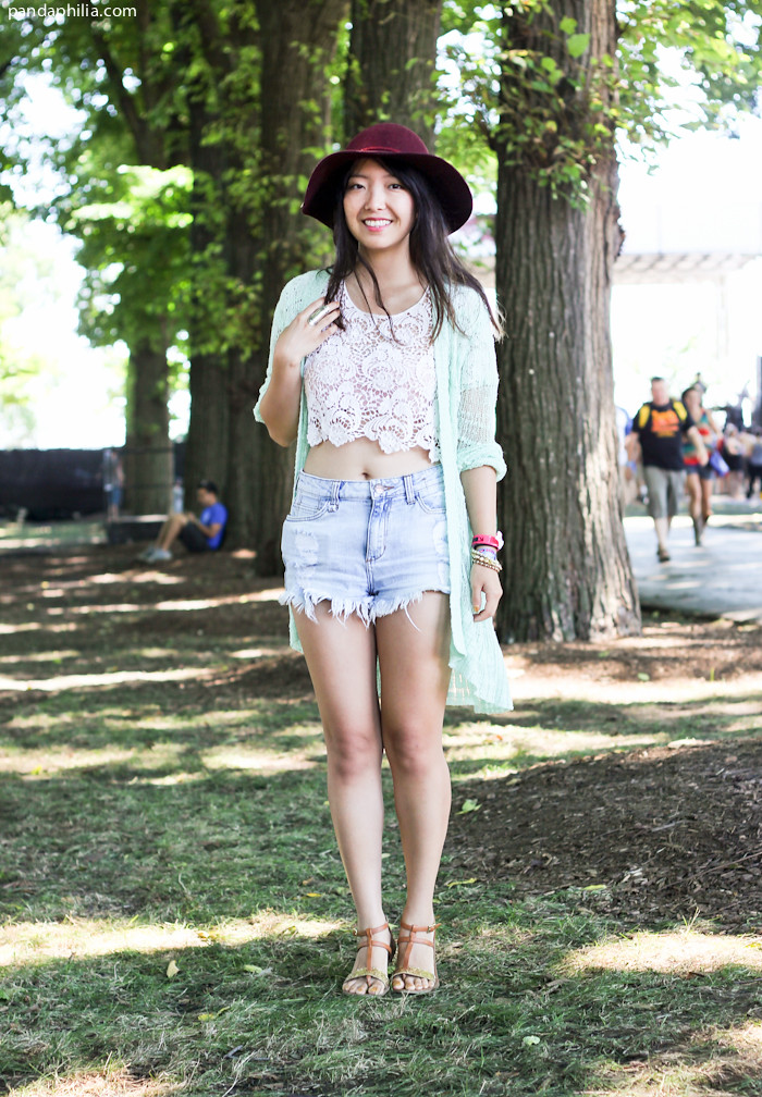 lace crochet crop top, denim shorts, long cardigan outfit | Flickr