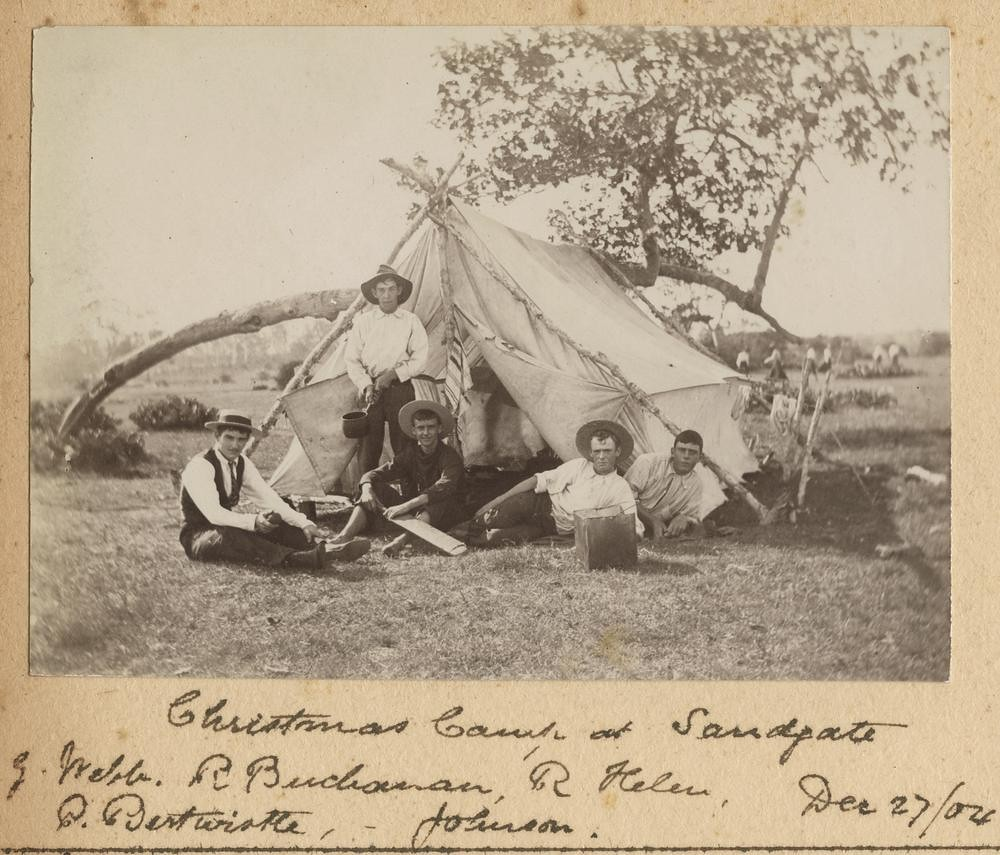 Group of young men camping at Sandgate over Christmas, 1904, near Brisbane, Queensland, Australia