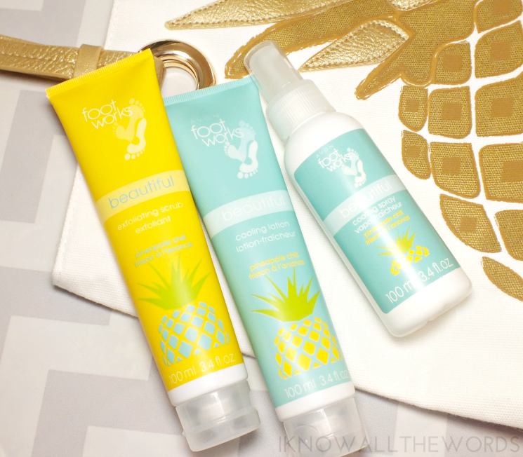 Avon Foot Works Pineapple Chill Scrub, Lotion, and Colling Spray (2)