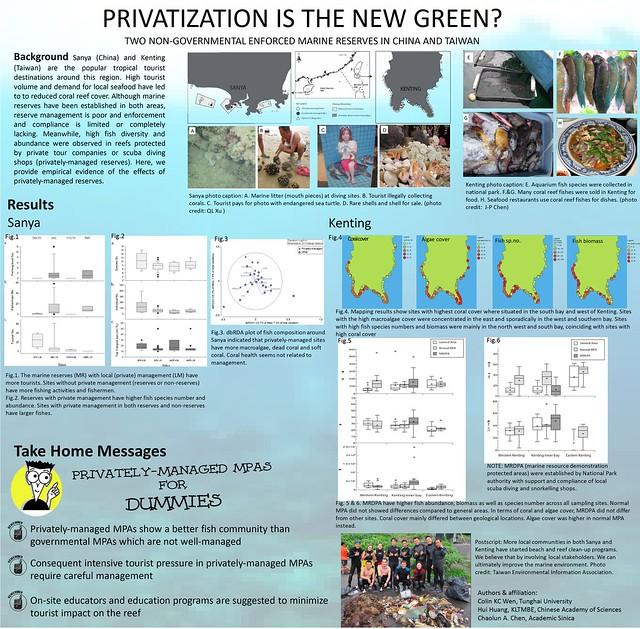 我的研究壁報,其中最後也提及環資和夥伴們對於環境的關心將是未來重要的一個環節。圖片提供:溫國彰。
