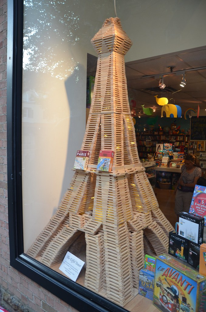 eiffel tower made out of kapla blocks in a toy store. Black Bedroom Furniture Sets. Home Design Ideas