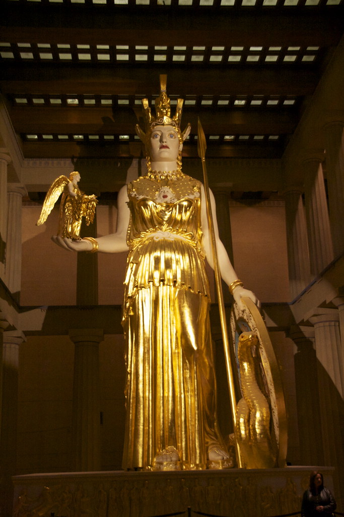 Golden Statue Of Athena Inside The Parthenon In