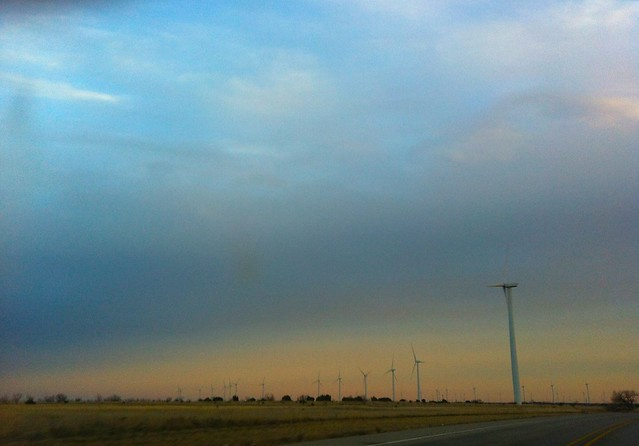 Sunset over the Windmills of Texas