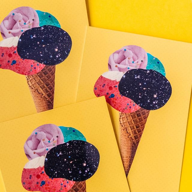 ice cream collage postcards