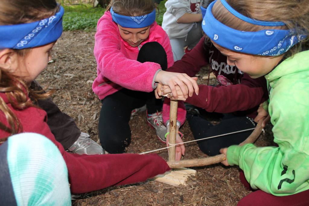 girl scout cadettes learn about building a fire at gsnc s