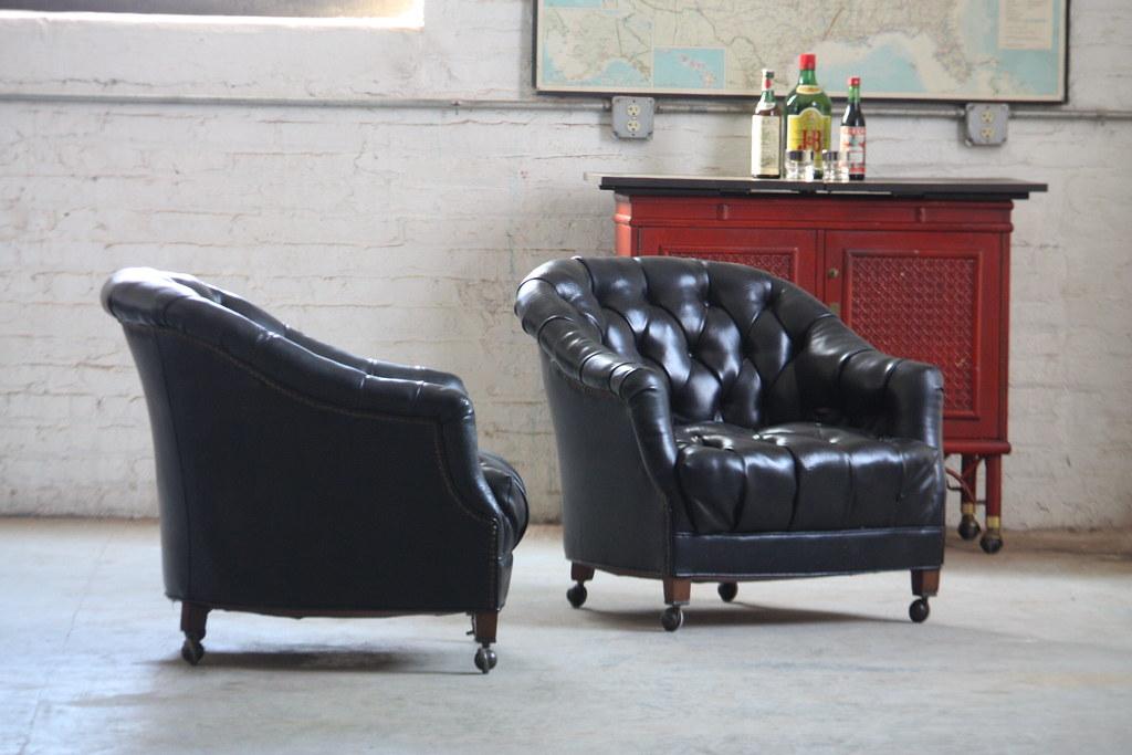 Silky Smooth Vintage Tufted Black Leather Club Chairs (U.Su2026 | Flickr