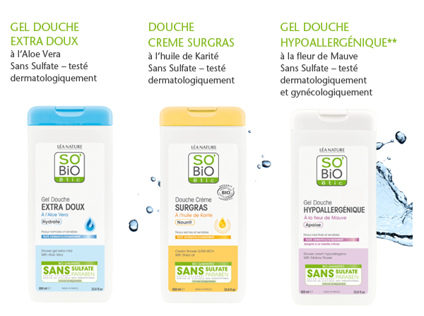 gels douches sans sulfate so'bio etic