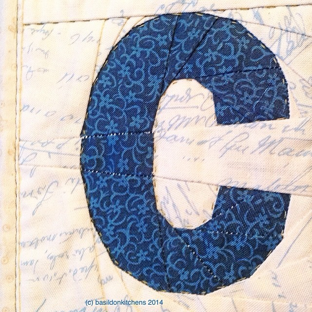 "5/2/2014 - a letter {'c' for Connie, however this one is for 'cut'; part of my ""Sew Out Loud"" paper-piecing quilt} #photoaday #aletter #quilt #quilting #paperpiecing"