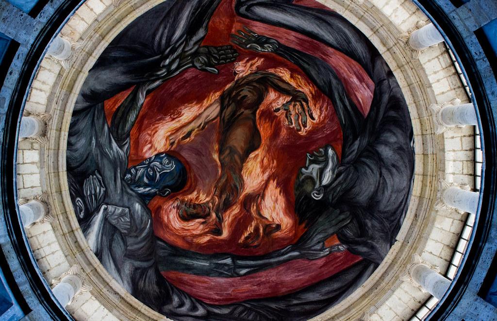 Hombre en llamas mural de jos clemente orozco en la for El hombre de fuego mural de jose clemente orozco