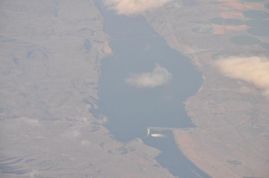 Wanapum Lake Dam Aerial Wanapum Dam to