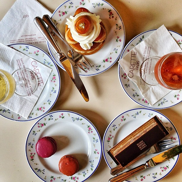 Afternoon tea at Carette with @madaboutmacarons. Opéra, St Honoré, macarons + bubbly!