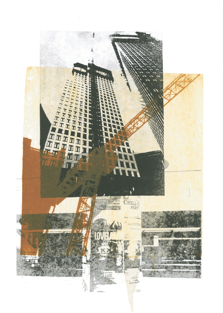 Building crane combined with modern high architecture the Printing architectural drawings