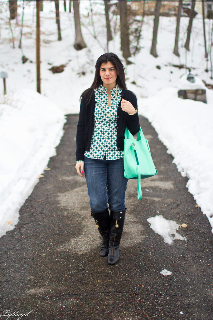 printed top, black cardigan, mint bag.jpg