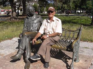 John Lennon statue attendant