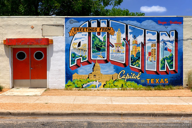 Roadhouse relics postcard mural flickr photo sharing for Austin postcard mural