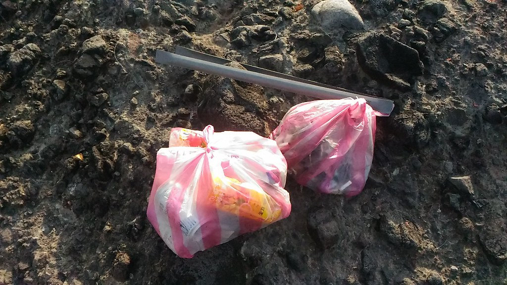 筆者撿了兩袋垃圾,但還是有很多垃圾無法帶走,缺乏袋子或容器可以裝,原本也沒預期會有那麼多垃圾在這裡出現 ...