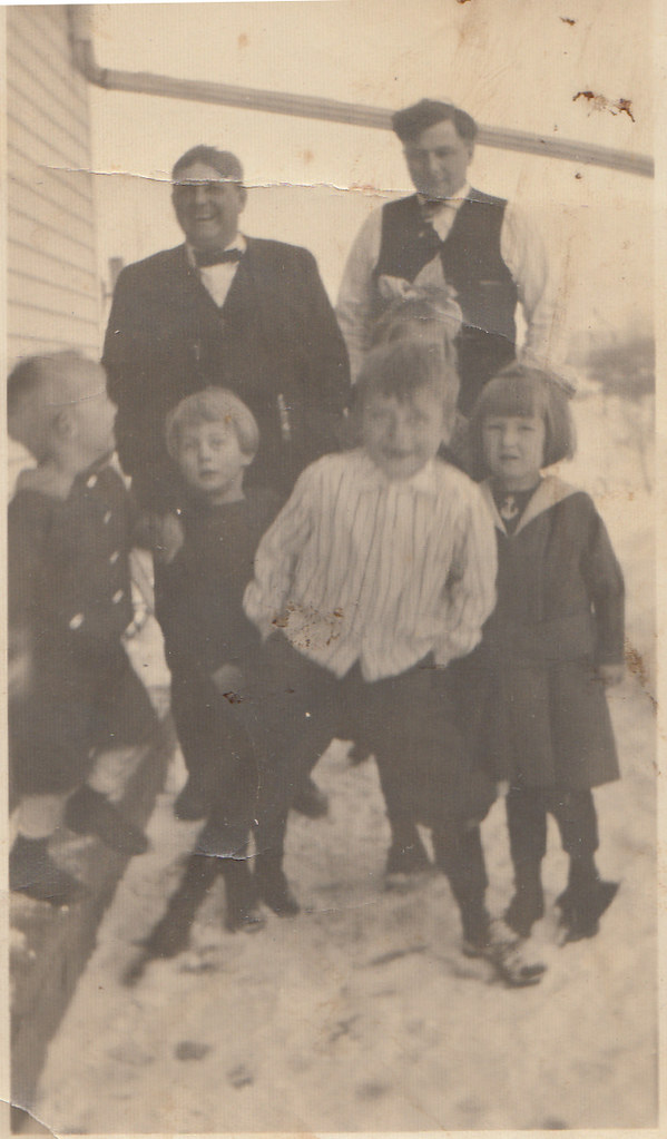 Pete and Anton Bonin with kids, including Aloysius Klar