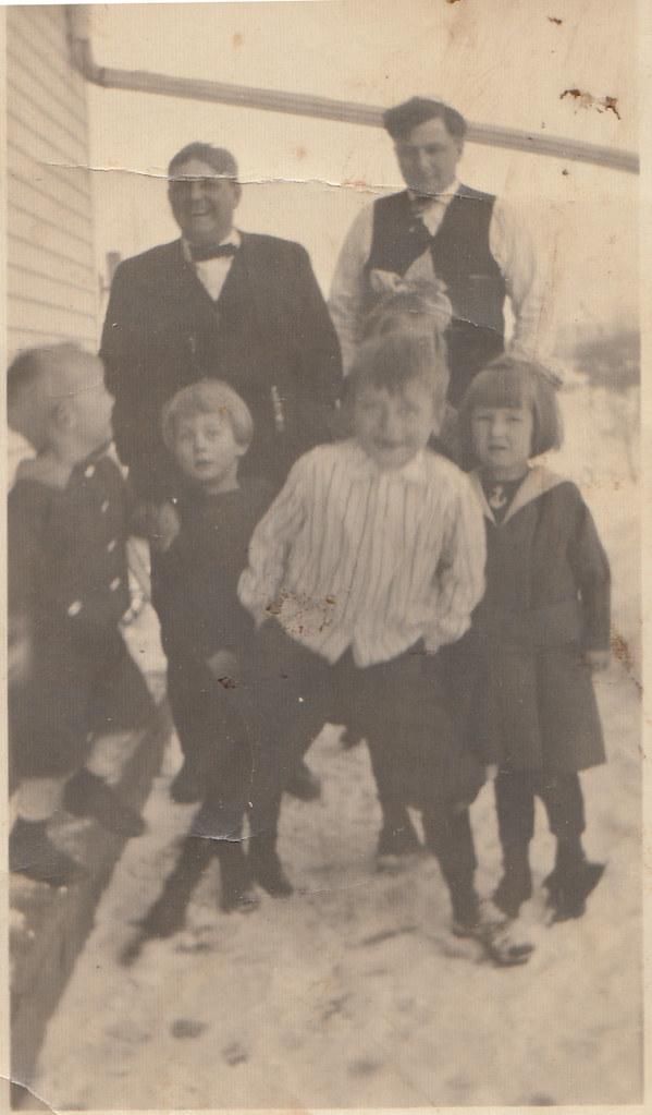 Pete and Anton Bonin with kids, including Aloysius Klar