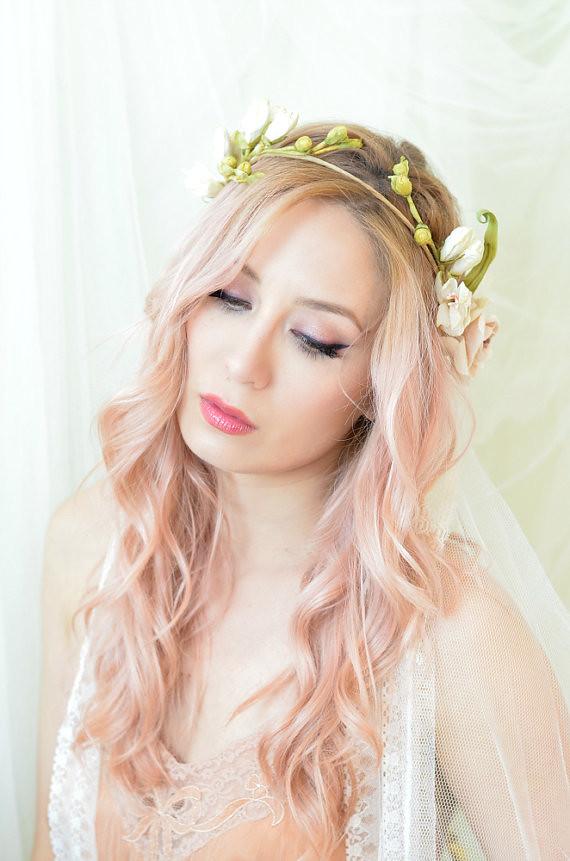 pink flower designer wedding dress