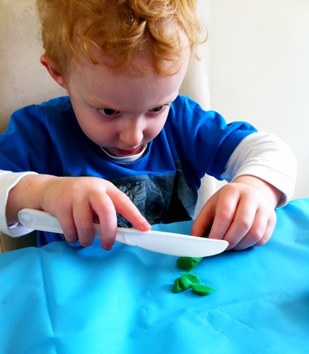 Cutting Skills Practice with Playdough (Photo from One Perfect Day)