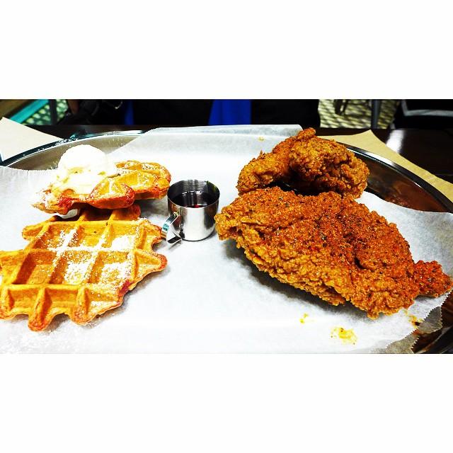 Fried chicken and sweet potato waffles plate @holeinthewallph #badbird ...