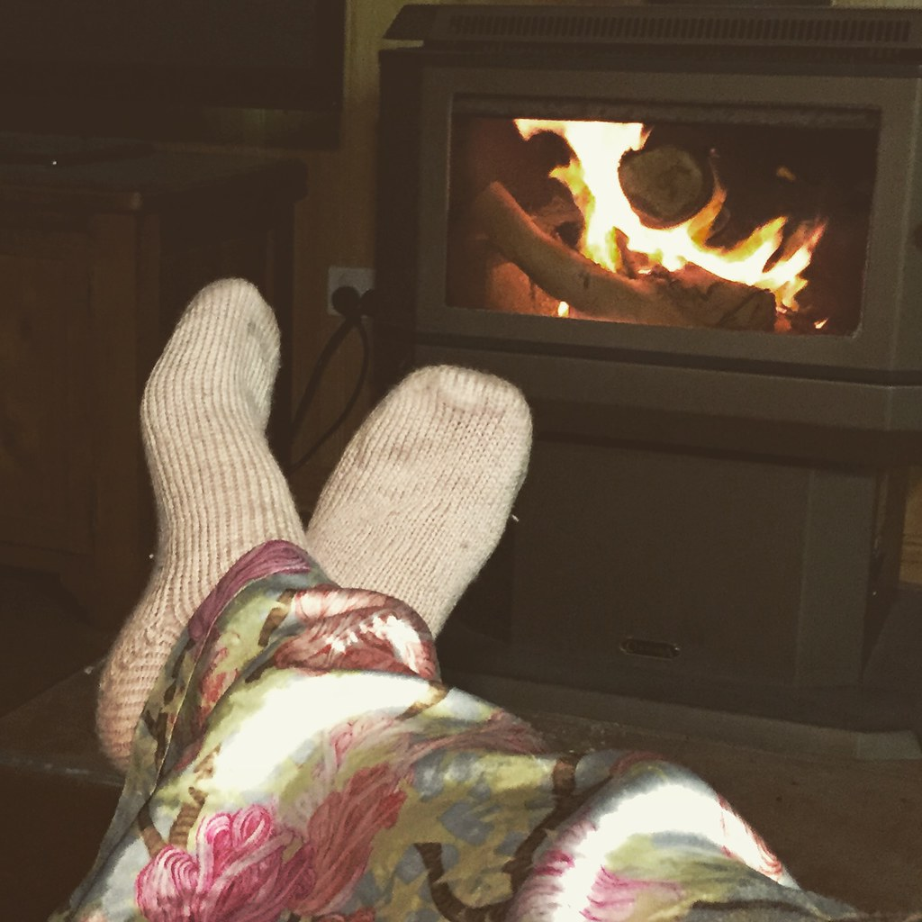 kicking back by the fire with some cosy vanilla two at a time socks on