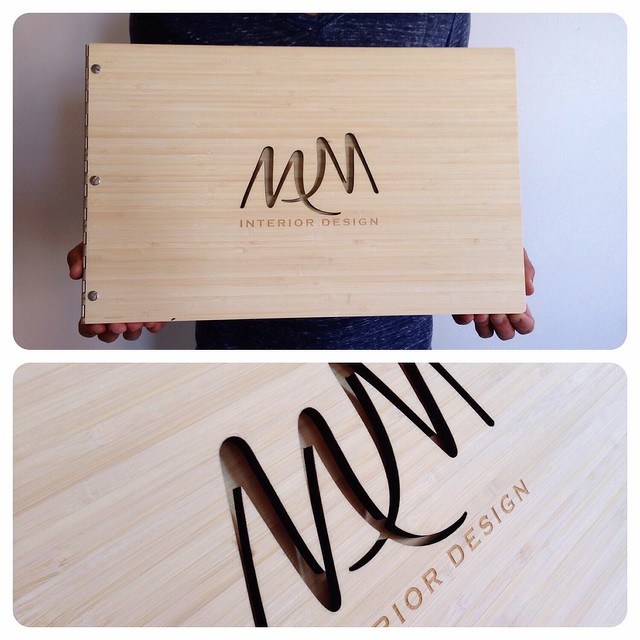 Custom Interior Design Portfolio Book With Cut Out And Engraving Treatment On Amber Bamboo