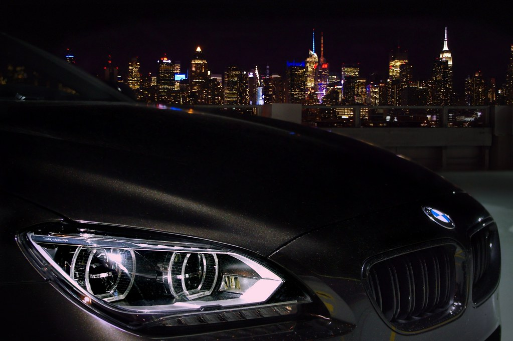 Bmw M6 In Black At Night Nyc Backdrop The Title Sums