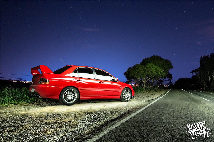 Evo IX light painted - late night roadside | Thought I'd ...