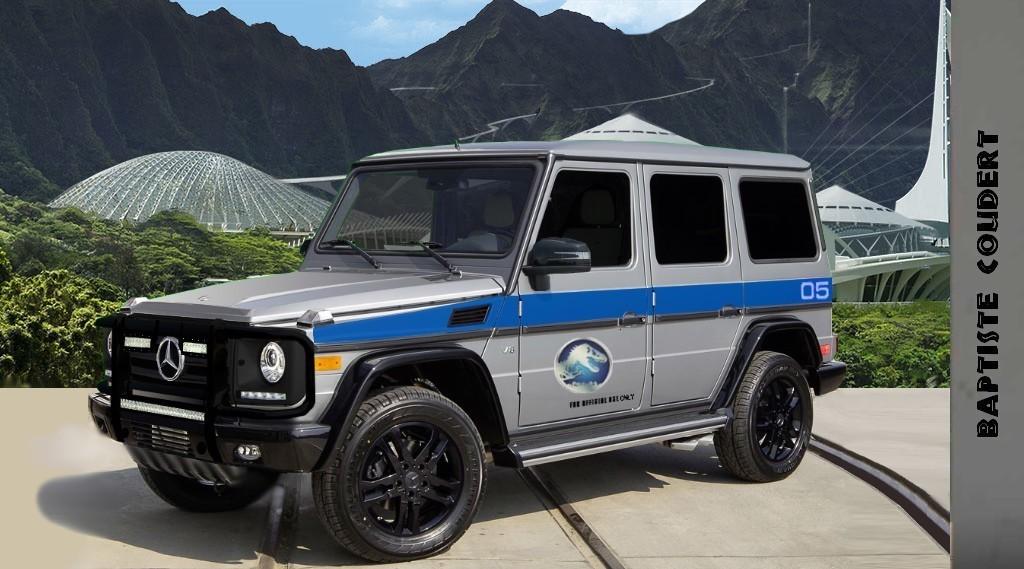 Jurassic world 2015 jurassic park 4 mercedes benz g clas for Mercedes benz field