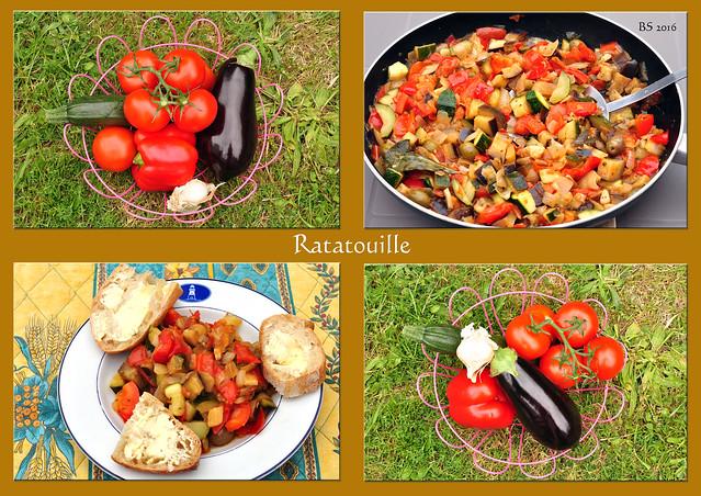 Bretagne-Urlaub 2016. Auf dem Markt wurden die Zutaten für ein Ratatouille gekauft. Provençalisches Ratatouille in der Bretagne? Ja – und zwar ein bisschen maritim aufgepeppt mit ein paar getrockneten Algen, dazu Baguette mit gesalzener Butter – und das Ganze serviert auf dem Teller mit dem blauen Leuchtturm. - Fotos: Brigitte Stolle 2016