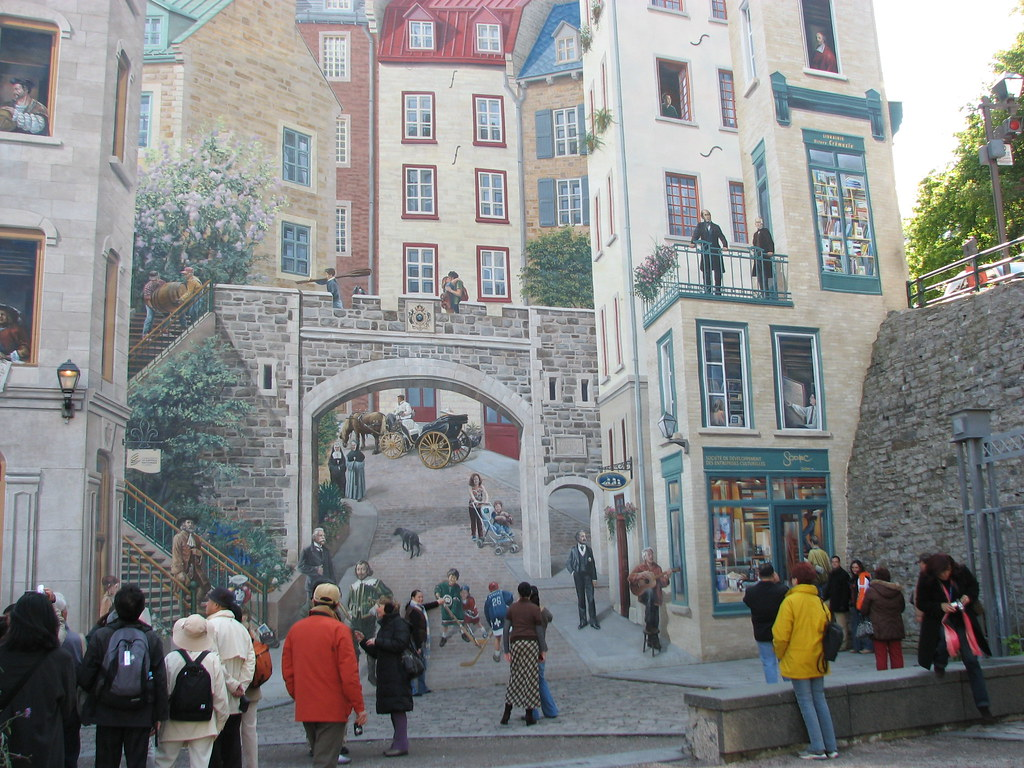 Wall wednesday quebec trompe l 39 oeil wall mural qu bec for Mural quebec city