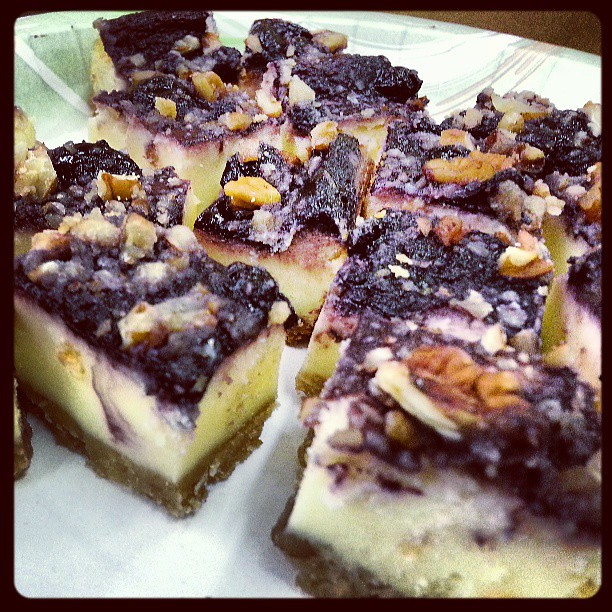 Blueberry cheesecake bites with a pecan crusted topping. #breakfast # ...