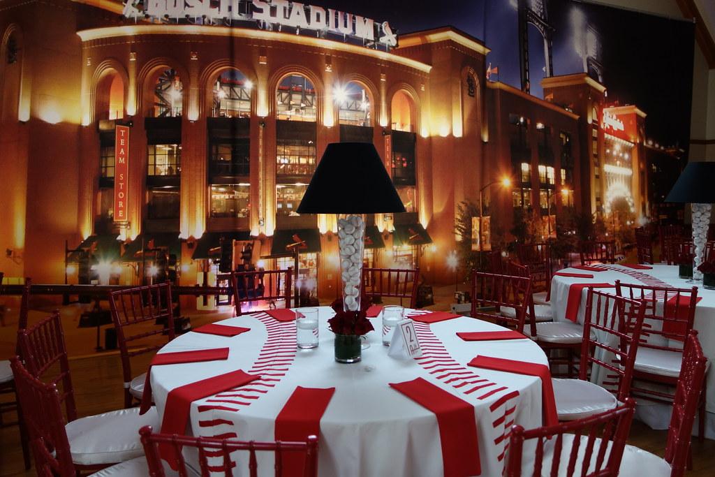 Busch Stadium Back Drop Baseball Centerpieces With Lamp Sh