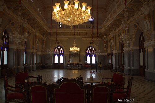 Beautiful Chandelier , Balcony support and doors, Aaina Mahal Bhuj