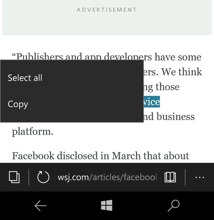 Inline copy menu