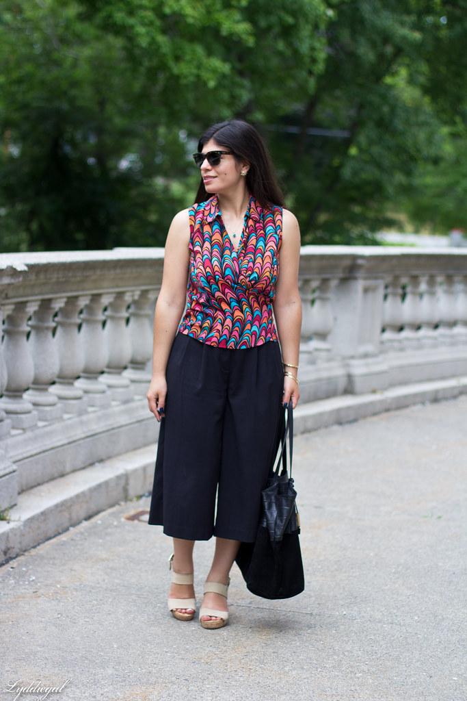 scallop print wrap blouse, black culottes, nude platform sandals-3.jpg