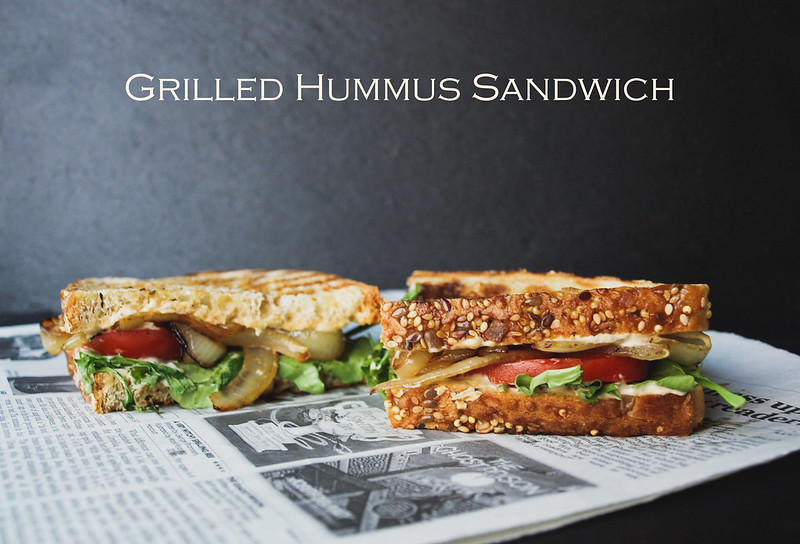 Grilled Hummus Sandwich Sauted OnionTomato Arugula
