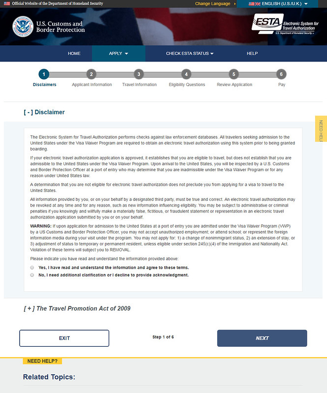 Procedimiento para obtener el ESTA y entrar a EEUU