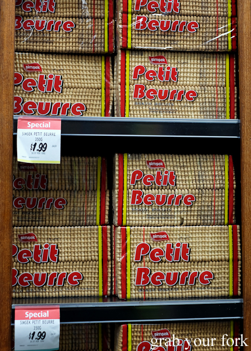 Simsek Petit Beurre biscuits at Banana Joe's supermarket during the Community Kouzina Marrickville Food Tour for Open Marrickville