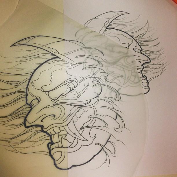 ready for tomorrow japonais demon tattoo sketch flickr. Black Bedroom Furniture Sets. Home Design Ideas