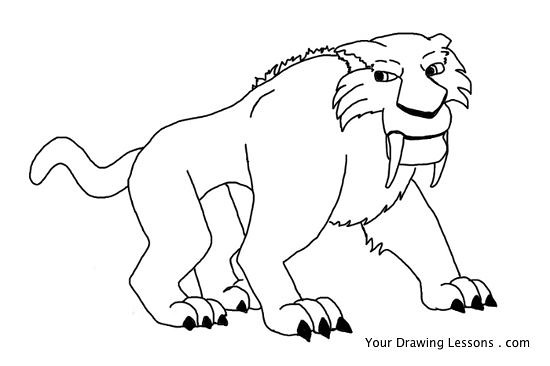 how to draw a saber tooth cat step by step