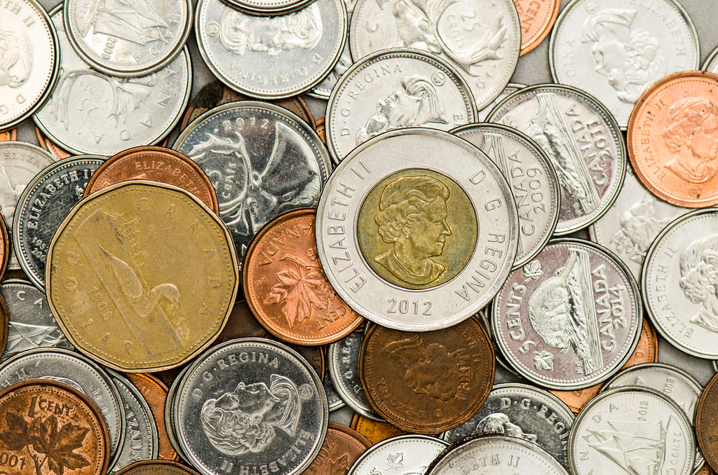 Stock Photography Canadian Coins Instructed To Make 10
