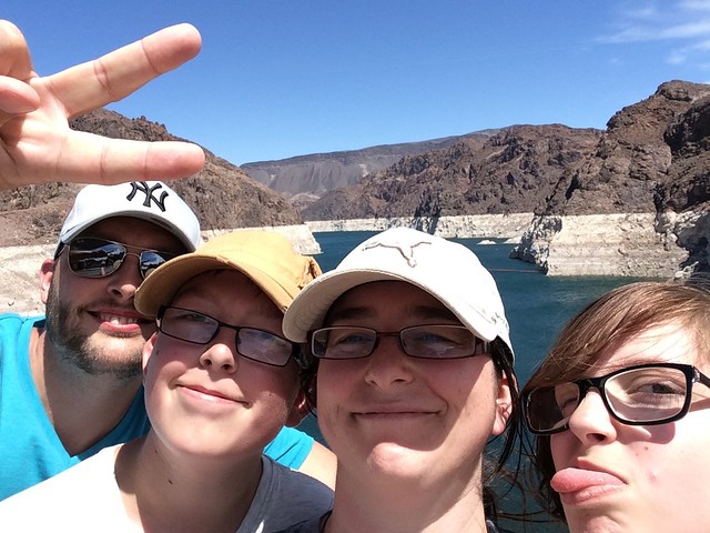 family visiting hoover dam in nevada