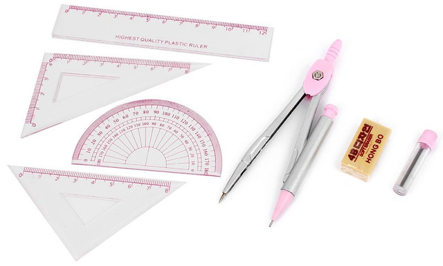 Set 7 in 1 Pink Clear Ruler Protractor Pencil Lead Compass Tool