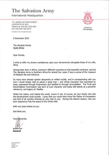 Letter of condolence to Mandela family | by Salvation Army IHQ