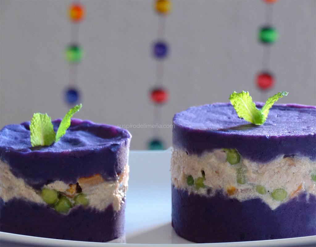 Causa limeña de papa violeta