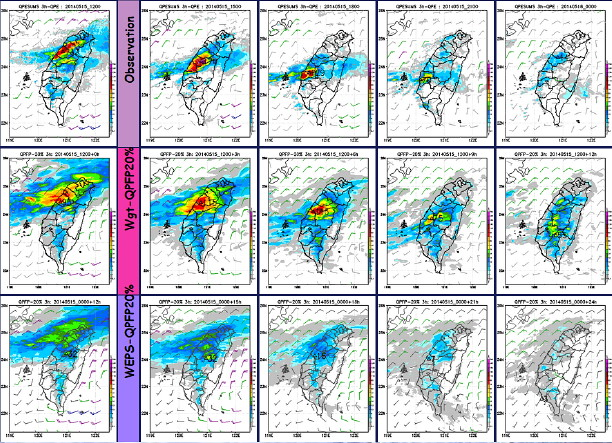 2014年5月15日之鋒面系統預報資料來源:中央氣象局
