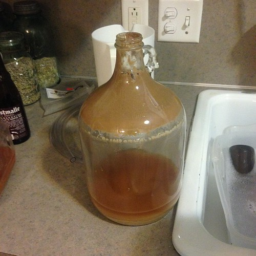The fermenter jug emptied of beer but the jug contained a lot of leftover sediment or trub