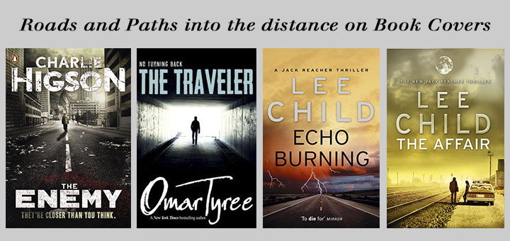 roads and paths into the distance on book covers